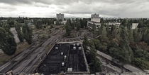 View from Polissya Hotel - PripyatChernobyl Ukraine