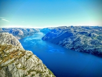 View from Pulpit rock Preikestolen Norway