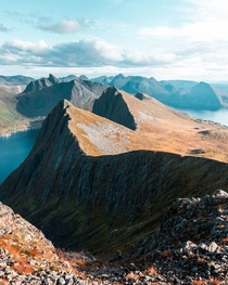 View from the Husfjellet hike on Senja Norway