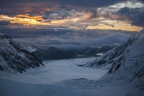 View from The Lower Icefall overlooking The Muldrow Glacier The Sourdough Route Denali National Park Alaska