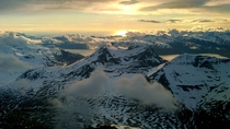 View from the plane coming in to land at Troms Airport Norway
