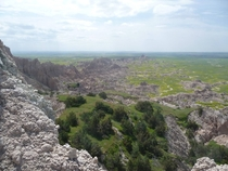View from the top of a butte in Badlands National Park SD