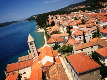 View from the top of a campanile in Rab Croatia
