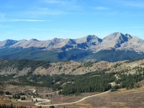 View from the top of Cottonwood Pass Colorado looking towards the west  x