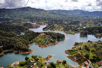 View from the top of El Pen de Guatap Colombia