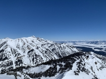 View from the top of Rendezvous Peak in Wyoming with the Grand Teton off in the distance