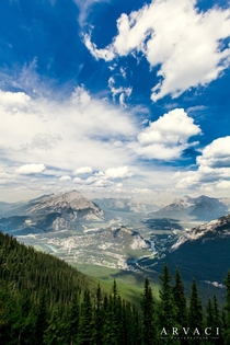 View from the top of Sulfur Mountain Banff National Park Canada