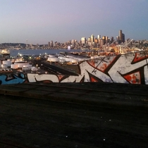 View from the top of the abandoned flour mill in Seattle