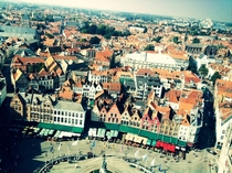 View from the top of the Belfort Bruges Belgium