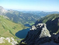 View from the top of the mountain called Lachenspitze in the Austrian Alps