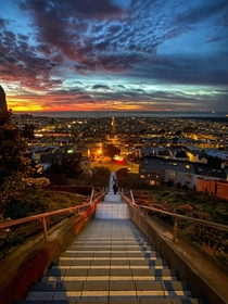 View From The Top of the Tiled Steps in San Francisco at Sunset
