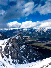 View from the top Rundle Peak Canmore Alberta