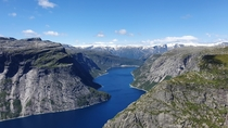 View from the Trolltunga in Norway OC x