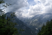 View from the Vri Pass Triglav National Park Slovenia