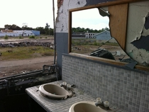 View from the womens bathroom of the nearly demolished Checker Taxi factory in Kalamazoo MI