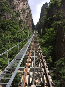 View from the Xihai Grand Canyon Cable Car Huangshan China