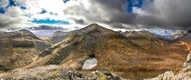 View from top of Binnein Beag looking at Binnein Mor Mamores Scotland Highlands