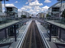 View from tram and train station Stadthaus in Bonn Germany