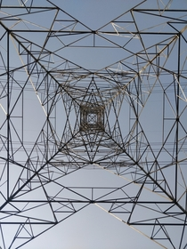 View from underneath a high tension electric tower