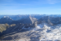 View from Zugspitze the highest point in Germany