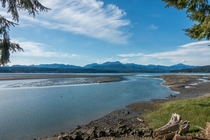 View looking north from the south end of Hood Canal in Washington State Olympic Mountains can be seen but with little snow