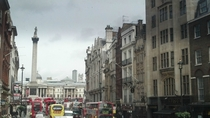 View North along Whitehall to Trafalgar Square London