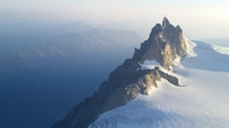 View of Aiguille du Midi while climbing Mont Blanc Chamonix France