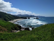 View of Cannon Beach from Ecola State Park Oregon