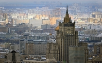 View of central Moscow with the headquarters of Russias Foreign Ministry one of the so-called Stalin high rises in the foreground  photo Alexander Nemenov