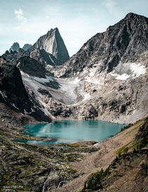 View of Cobalt Lake and spires at Bugaboo Provincial Park Canada