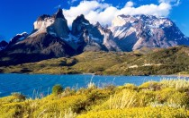 View of Cuernos del Paine from Peho Lake Chile