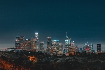 View of Downtown Los Angeles from Dodger Stadium at night