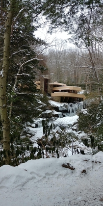 View of Frank Lloyd Wrights Fallingwater During a Winter Walk Tour