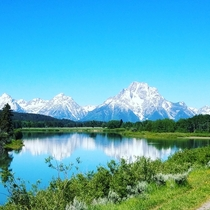 View of Grand Tetons leaving Yellowstone National Park  x