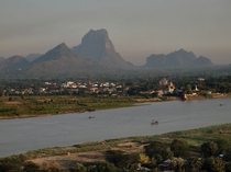 View of Hpa-an Myanmar from Hpan Pu Mountain