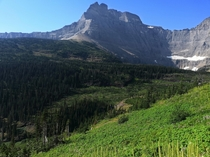 View of Iceberg Lake from afar GNP Montana OC  x
