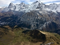 View of Jungfrau summit m from Birg cable car stop m - Bernese Alps Switzerland x