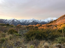 View of Kaikoura Ranges from Mount Fyffe during sunset New Zealand