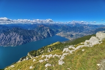 View of Lake Garda from Altissimo Mountain Italy HDR