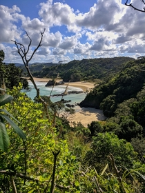 View of Matapouri beach on the climb to the mermaid pools Matapouri Bay Northland new Zealand