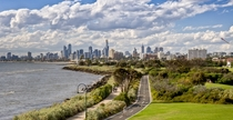 View of Melbournes city skyline from St Kilda