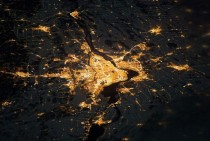 View of Montreal from space at night