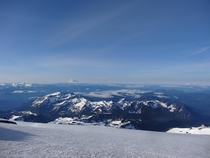 View of Mount Adams and St Helens from Camp Muir Mount Rainier this weekend
