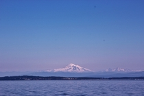 View of Mount Baker left and the Twin Sisters right from Bellingham Bay Washington