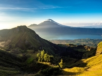 View of Mt Agung from Mt Batur Bali