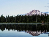 View of Mt Hood from Burnt Lake Oregon