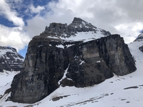 View of Mt Lefroy from the Plain of Six Glaciers Lookout hike in Banff Alberta CA