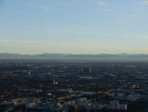 View of Munich with the Alps from the Olympic Park Tower OC x