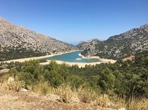 View of Panta de Gorg Blau lake in the Tramuntana mountains Majorca