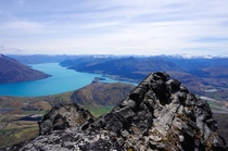 View of Queenstown and Lake Wakatipu from the Remarkables NZ
